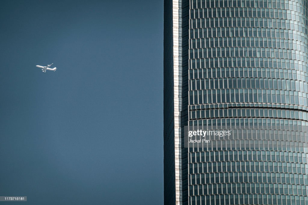 Civil Aviation Aircraft Flying in Blue Sky : Stock Photo