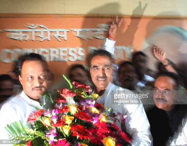 Civil Aviation Minister Praful Patel congratulating Ajit Pawar after NCP unanimously decided his name for the post of deputy chief minister as...