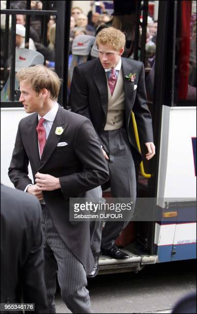 Civil ceremony at the Guildhall : arrival of Prince William followed by his brother Prince Harry.