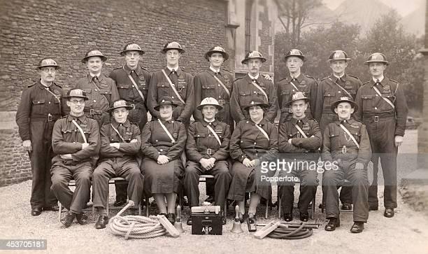 Civil Defence Wardens of the Air Raid Precautions organisation in Farnham during World War Two circa 1942