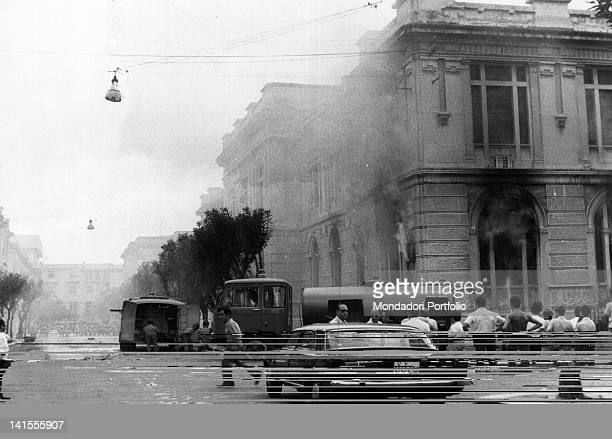 Civil Engineering Building on fire during the riot for Reggio regional capital of Calabria Reggio Calabria 1970