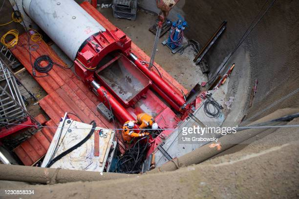 Civil engineering works. Channel tunnel construction for the extension of the Deutsche Bahn AG rail network on January 29, 2021 in Bonn, Germany.
