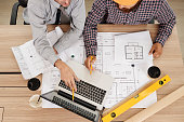 Civil engineers discussing work