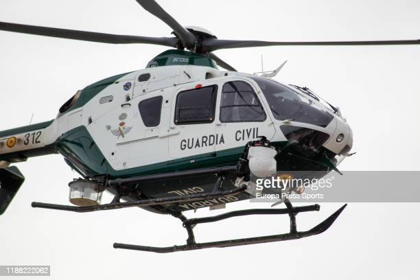 Civil Guard helicopter flying during the Gran Premio Motul de la Comunitat Valenciana of MotoGP at Ricardo Tormo Circuit on November 17 2019 in...