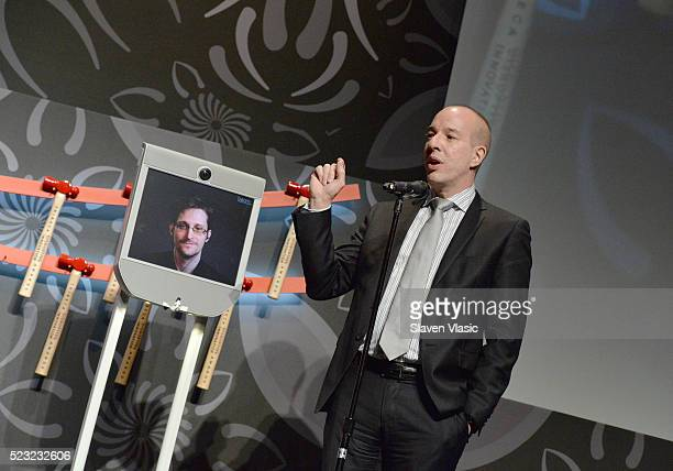 Civil Liberty Defender Anthony D Romero and Edward Snowden speak on stage at Tribeca Disruptive Innovation Awards 2016 Tribeca Film Festival at BMCC...