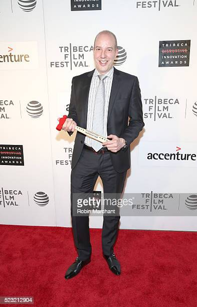 Civil Liberty Defender Anthony D Romero poses with his award at Tribeca Disruptive Innovation Awards 2016 Tribeca Film Festival at BMCC John Zuccotti...