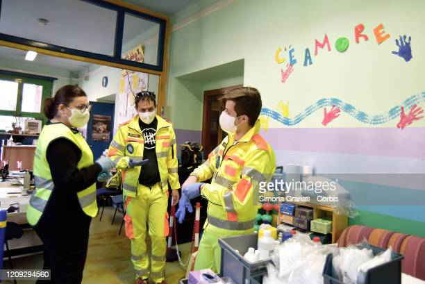 Civil Protection Volunteers at Roma Sud headquarters where the words There's love stand out collect necessities and food today they withdrew about...