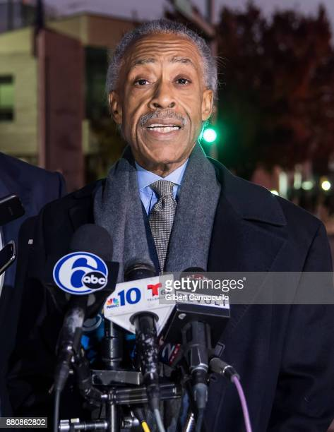 Civil rights activist Al Sharpton holds a press conference after he visited Meek Mill at Chester State Correctional Institution on November 27 2017...