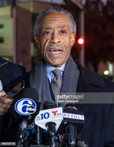 Civil rights activist Al Sharpton holds a press conference after visiting Meek Mill at Chester State Correctional Institution on November 27 2017 in...