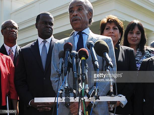 Civil rights activist Al Sharpton speaks to reporters outside of the West Wing after he and a group of civil rights leaders met on the Voting Rights...