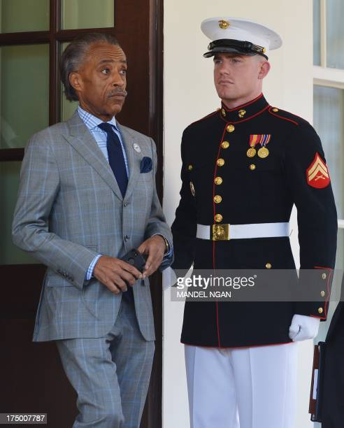 Civil rights activist Al Sharpton walks out of the West Wing after he and a group of civil rights leaders met on the Voting Rights Act with US...
