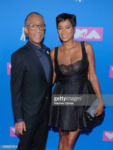 US civil rights activist and minister Al Sharpton and Aisha McShaw attend the 2018 MTV Video Music Awards at Radio City Music Hall on August 20 2018...
