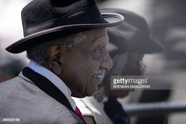 Civil rights activist and voting rights marcher Reverend Frederick Reese arrives at the Edmund Pettus Bridge March 7 2015 in Selma Alabama US...