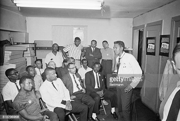 Civil rights activist Bayard Rustin speaks to a group of march marshals prior to the 1963 Freedom March Rustin served as a deputy director and chief...
