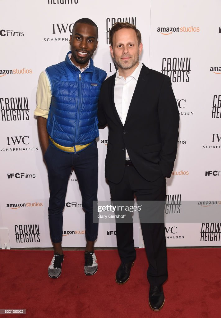 Civil rights activist DeRay Mckesson (L) and writer/director Matt Ruskin attend the 'Crown Heights' New York premiere at The Metrograph on August 15, 2017 in New York City.
