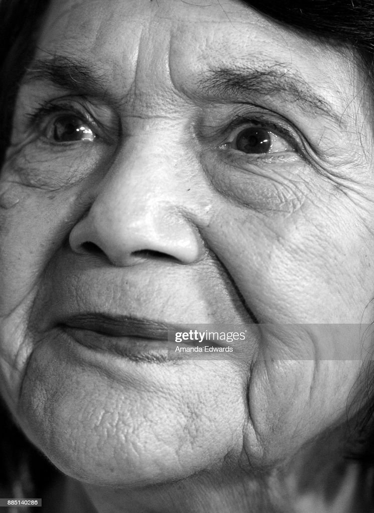 Civil rights activist Dolores Huerta arrives at ACLU SoCal's Annual Bill of Rights Dinner at the Beverly Wilshire Four Seasons Hotel on December 3, 2017 in Beverly Hills, California.