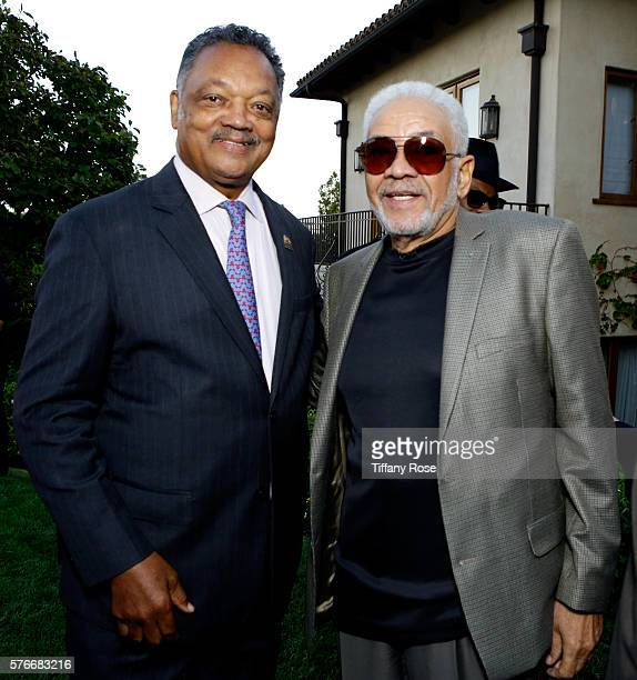 Civil rights activist Jesse Jackson and recording artist Bill Withers attend HollyRod Foundation's DesignCare Gala on July 16 2016 in Pacific...