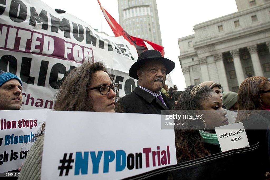 Civil rights activist Jesse Jackson participates in a demonstration against the city's 'stop and frisk' searches in lower Manhattan near Federal Court March 18, 2013 in New York City. Hearings in a federal lawsuit filed by four black men against the city police department's 'stop and frisk' searches starts today in Manhattan Federal Court.