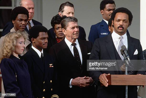 Civil rights activist Jesse Jackson speaks at a White House Rose Garden ceremony celebrating the release of Lieutenant Robert O Goodman a United...