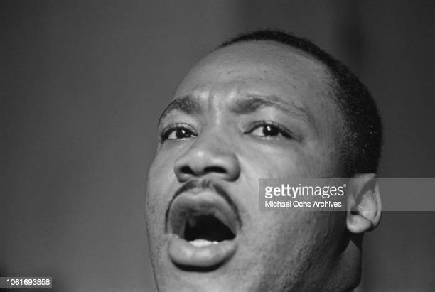 Civil rights activist Martin Luther King Jr addresses a rally at a church in Birmingham Alabama 14th October 1963