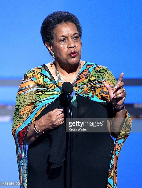 Civil rights activist Myrlie EversWilliams accepts the BET Humanitarian Award onstage during the BET AWARDS '14 at Nokia Theatre LA LIVE on June 29...
