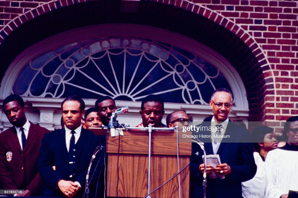 Civil Rights activist Reverend Ralph Abernathy (1926 - 1990) speaks during Dr Martin Luther King Jr's public memorial service at Morehouse College, Atlanta, Georgia, April 9, 1968.