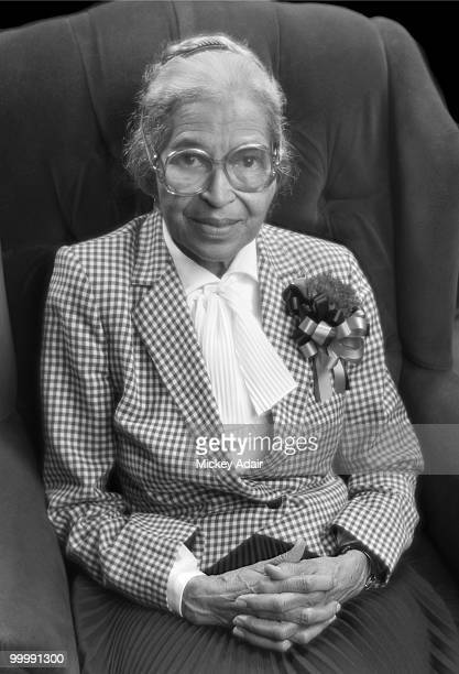 Civil rights activist Rosa Parks poses for a portrait after a Martin Luther King Day speech at Ruby Diamond Auditorium on the campus of Florida State...