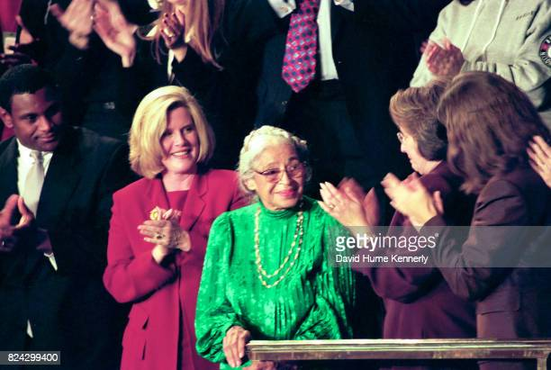 Civil Rights activist Rosa Parks stands as she is honored during President Bill Clinton's State of the Union Speech before a joint session of...