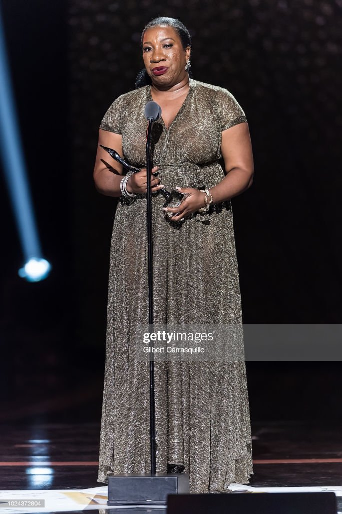 Civil rights activist who founded the Me Too movement and Community Change Agent award recipient Tarana Burke speaks on stage during the 2018 Black Girls Rock! at New Jersey Performing Arts Center on August 26, 2018 in Newark, New Jersey.