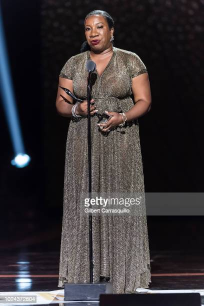 Civil rights activist who founded the Me Too movement and Community Change Agent award recipient Tarana Burke speaks on stage during the 2018 Black...