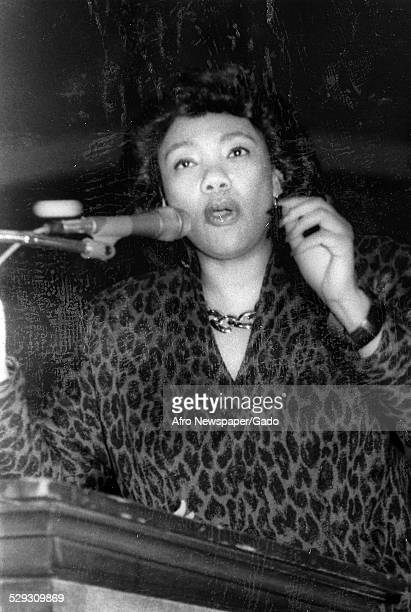 Civil rights activist Yolanda King delivering a speech at Norfolk State University Virginia February 20 1993