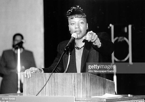Civil rights activist Yolanda King delivering a speech January 27 1996