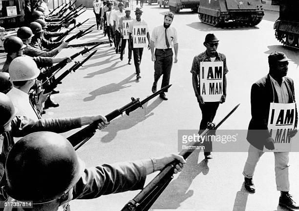 Civil Rights activists are blocked by National Guardsmen brandishing bayonets while trying to stage a protest on Beale Street in Memphis, Tennessee....
