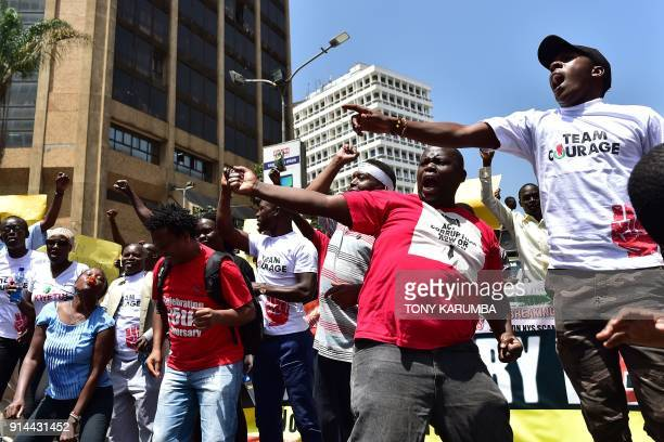 Civil rights activists demonstrate on February 5, 2018 in the streets of Nairobi to protest against the shutdown of three major TV channels to stop...