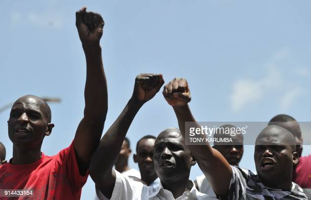 TOPSHOT Civil rights activists demonstrate on February 5 2018 in the streets of Nairobi to protest against the shutdown of three major TV channels to...