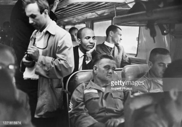 Civil rights activists known as the Freedom Riders en route from Montgomery, Alabama, to Jackson, Mississippi, as they seek to enforce integration by...