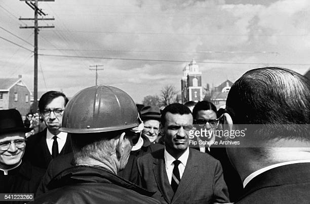 Civil rights activists led by Reverend C.T. Vivian negotiate with police officers to start a march from Selma to Montgomery.