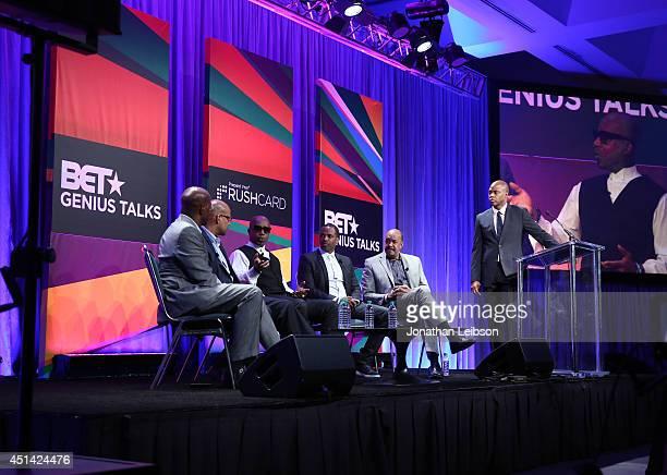 Civil Rights Advocate Van Jones Oscar Gonzales rapper MC Hammer author Toure Roberts and Dr Robert K Ross speak onstage at Fan Fest during the 2014...