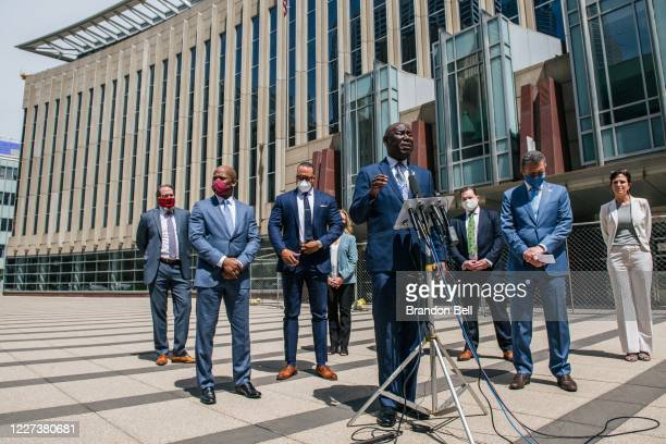 Civil rights and personal injury attorney Ben Crump speaks during a press conference outside of the Diana E. Murphy U.S. Courthouse on July 15, 2020...