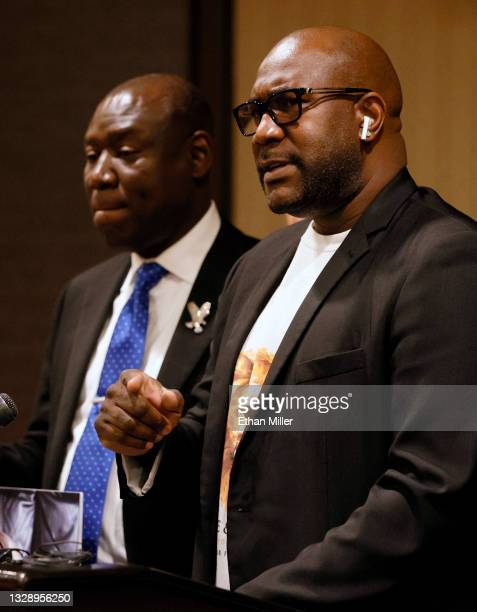 Civil rights attorney Ben Crump looks on as George Floyd's brother Philonise Floyd speaks during a news conference at the Golden Nugget Hotel &...
