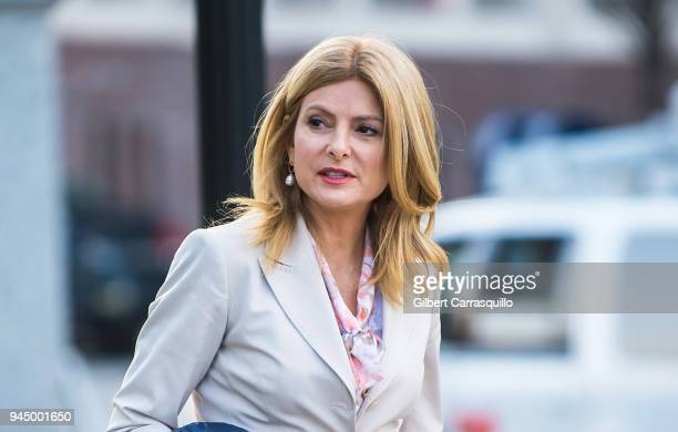 Civil rights attorney Lisa Bloom is seen around the Montgomery County Courthouse during the third day of Bill Cosby's sexual assault charges on April...