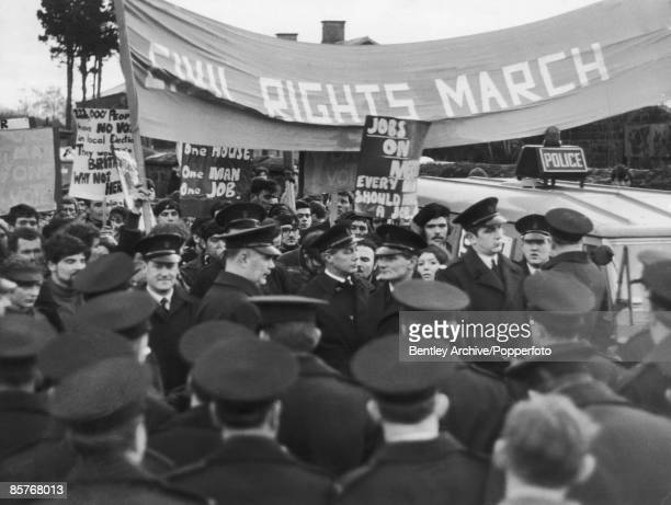 Civil rights campaigners in Derry demanding equality in housing employment and voting rights for Catholics in Northern Ireland 10th January 1969