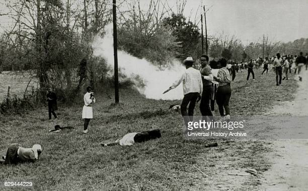 Civil Rights Demonstrators Scatter after Police Throw Smoke Bombs, Camden, Alabama, USA, March 31, 1965.