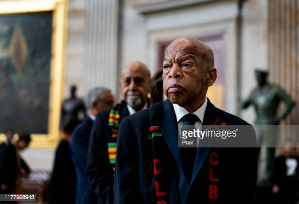 Civil Rights icon Congressman John Lewis prepares to pay his respects to US Rep Elijah Cummings who lies in state within Statuary Hall during a...