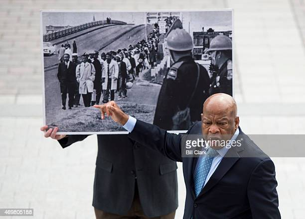 Civil rights icon Rep. John Lewis, D-Ga., recounts his experience in Selma, Ala., to a group of students gathered on the House steps on Wednesday,...