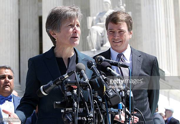 Civil Rights Lawyer Mary Bonauto, primary counsel for the plaintiffs, speaks outside of the Supreme Court of the United States on April 28, 2015 in...