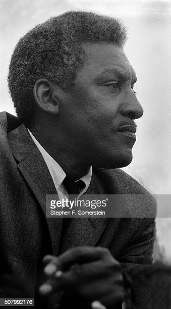 Civil rights leader Bayard Rustin on the speaker's platform in front of the Alabama State House at the conclusion of the Selma to Montgomery Civil...