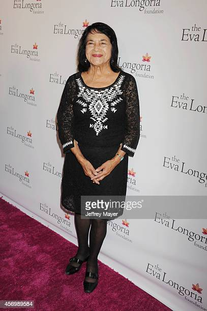 Civil Rights Leader Dolores Huerta attends Eva Longoria's Foundation dinner at Beso on October 9 2014 in Hollywood California