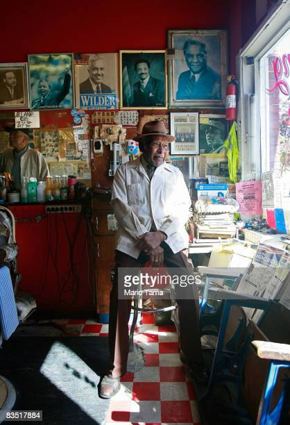 Civil Rights leader James Armstrong sits in his barber shop where he cut Dr Martin Luther King Jr's hair October 31 2008 in Brimingham Alabama...