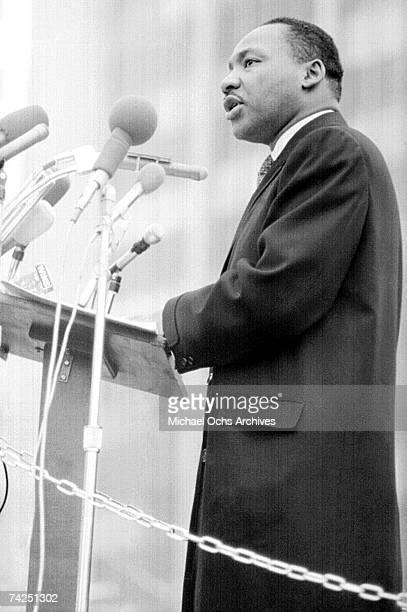 Civil rights leader Martin Luther King Jr gives a speech in March 1965 in Washington DC